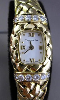 ESTATE TIFFANY & CO .60CT DIAMOND 18KT YELLOW GOLD QUARTZ MOVEMENT LADIES WATCH