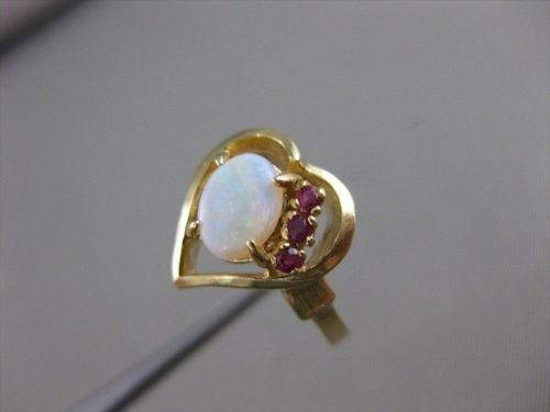 ESTATE AAA OPAL RUBY 14K YELLOW GOLD OPEN HEART COCKTAIL CLUSTER RING 13MM #4014