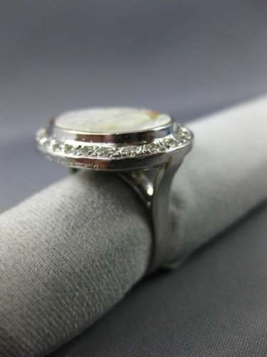 ANTIQUE LARGE .75CT DIAMOND 18KT WHITE GOLD AAA MOTHER OF PEARL CAMEO RING #2300