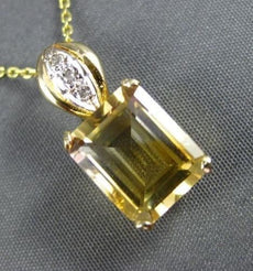 ESTATE LARGE 2.56CT AAA YELLOW TOPAZ & DIAMOND 14KT YELLOW GOLD PENDANT #22205