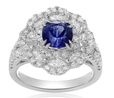 GIA CERTIFIED 3.5CT DIAMOND & AAA SAPPHIRE 18K WHITE GOLD FLOWER ENGAGEMENT RING
