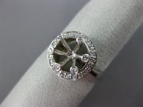 ESTATE WIDE .35CT DIAMOND 14K WHITE GOLD 3D HALO SEMI MOUNT ENGAGEMENT RING 1028