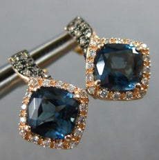 2.45CT WHITE & CHOCOLATE FANCY DIAMOND & AAA BLUE TOPAZ 14KT ROSE GOLD EARRINGS