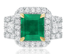 ESTATE LARGE 4.81CT DIAMOND & AAA EMERALD 18K 2 TONE GOLD SQUARE ENGAGEMENT RING