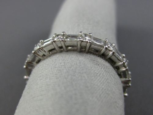 ESTATE 1.21CT ROUND & BAGUETTE DIAMOND 18KT WHITE GOLD ETERNITY ANNIVERSARY RING