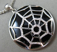 ESTATE LARGE .20CT DIAMOND & ONYX 14KT WHITE GOLD 3D SPIDER WEB FLOATING PENDANT