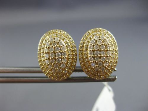 LARGE .83CT DIAMOND 14K YELLOW GOLD 3D CLUSTER DOUBLE HALO CLIP ON POST EARRINGS