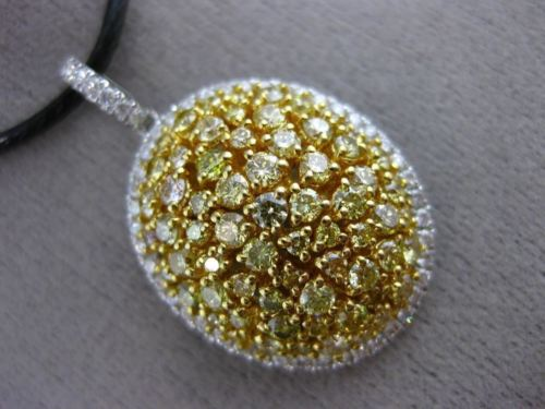 LARGE 2.66CT WHITE & INTENSE YELLOW DIAMOND 18K 2 TONE GOLD 3D DOME OVAL PENDANT