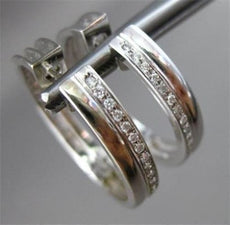 ESTATE WIDE .50CT DIAMOND HOOPS 14KT WHITE GOLD EARRINGS F/G VVS BEAUTIFUL #1439