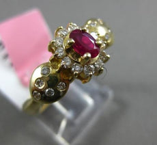 ESTATE .67CT DIAMOND & AAA RUBY 14KT YELLOW GOLD 3D HALO ETOILE ENGAGEMENT RING