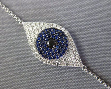 .57CT WHITE & BLACK DIAMOND AAA SAPPHIRE 14K WHITE GOLD EVIL EYE LUCKY BRACELET