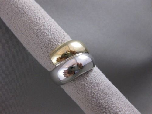ANTIQUE FANCY 17MM WIDE 14KT WHITE YELLOW GOLD LOVE COCKTAIL RING BAND #19270