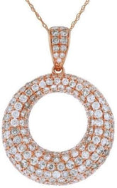 ESTATE 1.25CT DIAMOND 14K ROSE GOLD 3D CIRCLE OF LIFE MULTI ROW FLOATING PENDANT