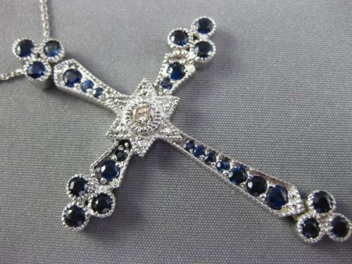ESTATE 2.25CT DIAMOND & AAA SAPPHIRE 18KT WHITE GOLD STAR OF DAVID CROSS PENDANT