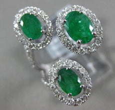 ESTATE 2.93CT DIAMOND & AAA EMERALD 14KT WHITE GOLD 3D OVAL 3 STONE TENSION RING