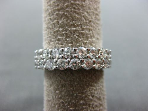WIDE 4.4CT ROUND DIAMOND 14K WHITE GOLD DOUBLE ETERNITY WEDDING ANNIVERSARY RING