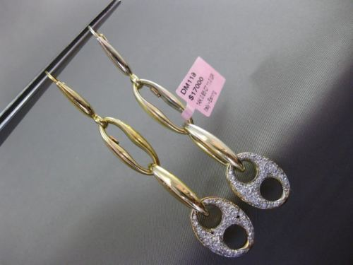 ESTATE .85CT DIAMOND 14K TWO TONE GOLD LOVE KNOT LINK LEVERBACK HANGING EARRINGS