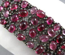 ANTIQUE MASSIVE 87.15CT OLD MINE DIAMOND & PINK SAPPHIRE 18K BLACK GOLD BRACELET