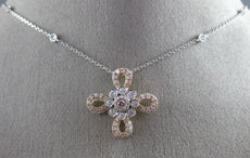 1.05CT WHITE & PINK DIAMOND 14KT WHITE & ROSE GOLD 3D FLOWER BY THE YARD PENDANT