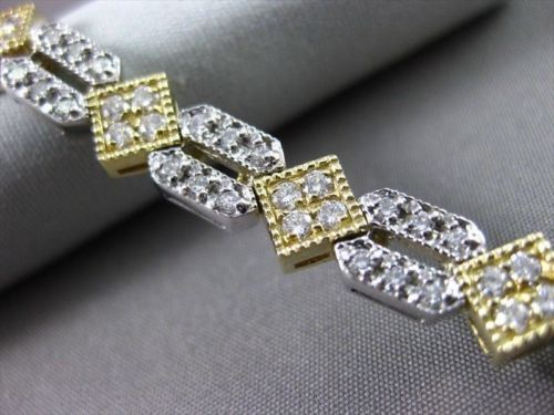 ANTIQUE 2.60CT DIAMOND 14KT TWO TONE GOLD FILIGREE SQUARE TENNIS BRACELET #11315