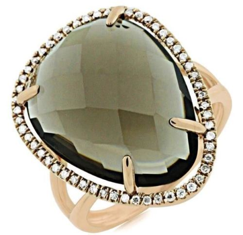 ESTATE 10.72CT DIAMOND & AAA SMOKEY QUARTZ 14KT ROSE GOLD 3D TEAR DROP FUN RING