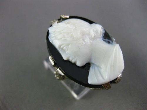 ANTIQUE LARGE 14KT WHITE GOLD 3D ONYX HANDCRAFTED LADY CAMEO FILIGREE OVAL RING