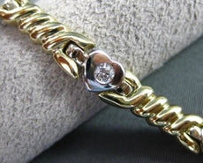 ESTATE WIDE .45CT DIAMOND 14KT WHITE & YELLOW GOLD HEART LOVE BRACELET #15359