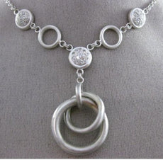 ESTATE LARGE .48CT DIAMOND 14KT WHITE GOLD CLUSTER OPEN CIRCULAR LARIAT NECKLACE