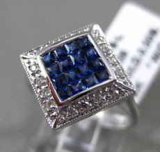 ESTATE LARGE .62CT DIAMOND & AAA SAPPHIRE 14KT WHITE GOLD SQUARE FILIGREE RING