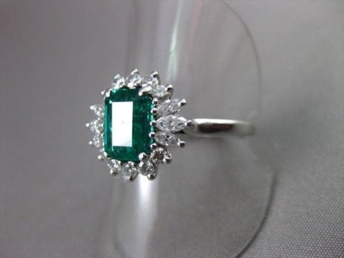 ANTIQUE 1.90CT DIAMOND & AAA COLOMBIAN EMERALD PLATINUM ENGAGEMENT RING #22258