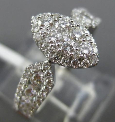 ESTATE WIDE .98CT DIAMOND 18KT WHITE GOLD 3D HALO MARQUISE SHAPE HEART LOVE RING