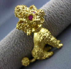 ANTIQUE 18K YELLOW GOLD HANDCRAFTED RUBY HAPPY POODLE PUPPY DOG PIN BROOCH 25478