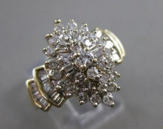 ESTATE WIDE 1.25CTW DIAMOND 14K WHITE & YELLOW GOLD CLUSTER COCKTAIL RING #21369