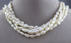 ESTATE LONG FRESH WATER PEARL 14KT YELLOW GOLD 3D MULTI STRAND NECKLACE #25356