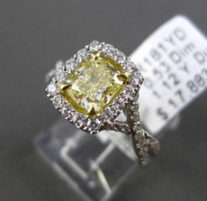 ESTATE 1.65CT GIA FANCY YELLOW DIAMOND 18K TWO TONE GOLD 3D HALO ENGAGEMENT RING