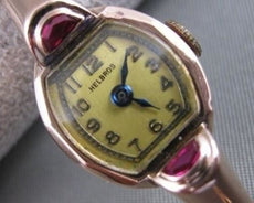 ANTIQUE MOON OLD MINE RUBY 14K PINK ROSE GOLD HELBROS WATCH #20592