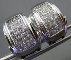 ESTATE WIDE 1.72CT PRINCESS DIAMOND 14K WHITE GOLD 3D MULTI ROW CLIP ON EARRINGS