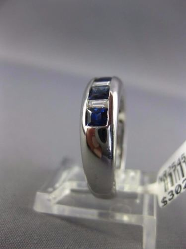 1.27CT BAGUETTE & PRINCESS DIAMOND & SAPPHIRE 18K WHITE GOLD ANNIVERSARY RING