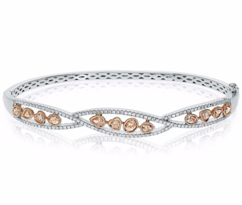 1.61CT WHITE & PINK DIAMOND 14KT WHITE & ROSE GOLD 3D INFINITY BANGLE BRACELET