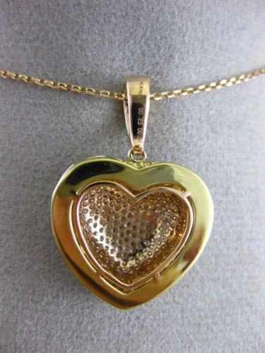 LARGE .80CT PINK & INTENSE FANCY YELLOW DIAMOND 18KT TWO TONE GOLD HEART PENDANT
