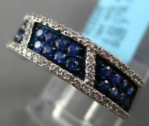 ESTATE WIDE .87CT DIAMOND & AAA SAPPHIRE 14KT WHITE GOLD 3D MULTI ROW FUN RING