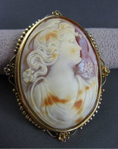 ANTIQUE LARGE 14KT YELLOW GOLD HANDCRAFTED LADY SHELL CAMEO PENDANT & PIN #22935