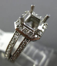 ESTATE WIDE .50CT DIAMOND 14K WHITE GOLD SQUARE SEMI MOUNT ENGAGEMENT RING #1275