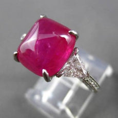 ANTIQUE LARGE 9.40CT DIAMOND & AAA RUBY PLATINUM 3D THREE STONE ENGAGEMENT RING