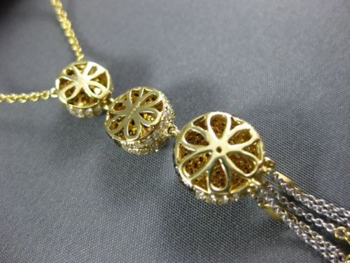 LARGE 2.3CT WHITE & CHOCOLATE FANCY DIAMOND 18K YELLOW GOLD ROUND LARIAT PENDANT