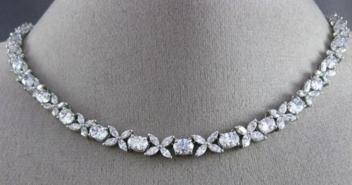 ESTATE CERTIFIED 22.75CT DIAMOND PLATINUM HANDCRAFTED CHOKER TENNIS NECKLACE D/E