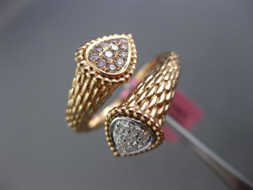 LARGE .27CT WHITE & PINK DIAMOND 18K WHITE & ROSE GOLD CRISS CROSS HAMMERED RING