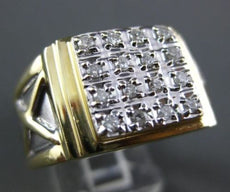 ESTATE WIDE .42CT DIAMOND 14KT WHITE & YELLOW GOLD 3D X SQUARE ETOILE MENS RING