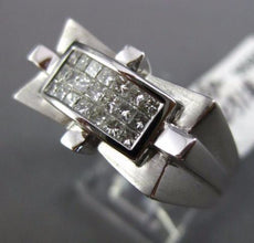 WIDE .65CT PRINCESS DIAMOND 14KT WHITE GOLD 3D INVISIBLE RECTANGULAR MENS RING