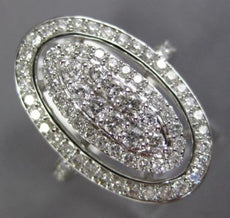 ESTATE LARGE 1.0CT ROUND DIAMOND 14KT WHITE GOLD 3D CLUSTER HALO OVAL FUN RING